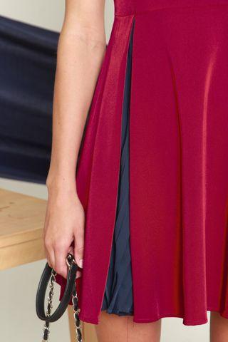 Hidden Pleats Flare Dress in Wine