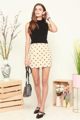 Polka Dot Skirt in Cream