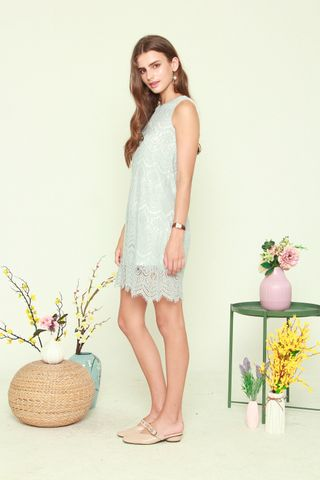 ACW Lace Trim Trapeze Dress in Mint