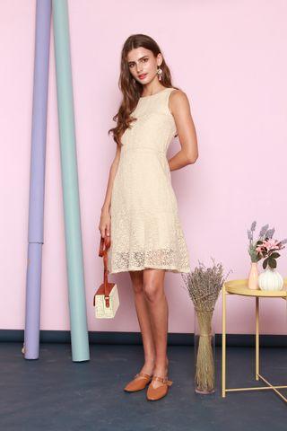 Lace Drop Hem Dress in Cream