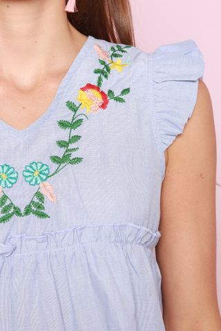 ACW Ruffle Sleeve Embroidery Top in Blue