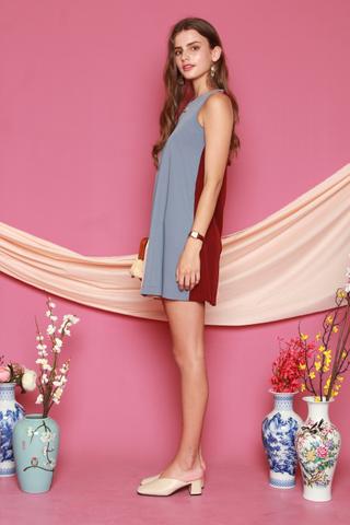 Two Way Colourblock Pleats Trapeze Dress Wine-Ash