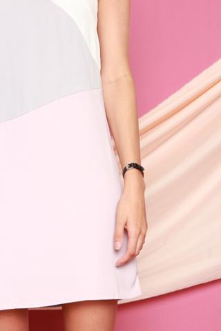 Triple Swirl Colourblock Slip Dress in Dusty Grey