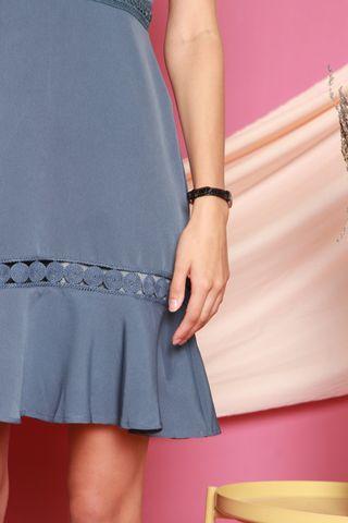 Crotchet Detail Cut In Dress in Ash Blue