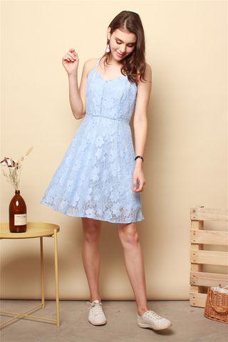Lace Cami Swing Dress in Powder Blue