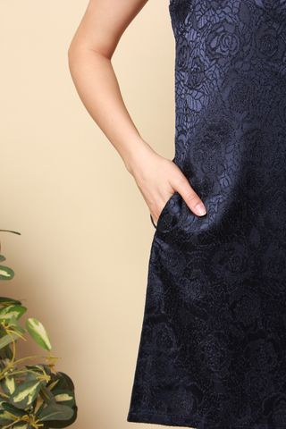 ACW Brocade Shift Dress in Navy