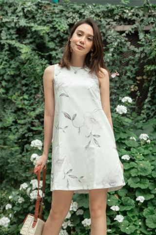 Watercolour Floral Trapeze Dress in White