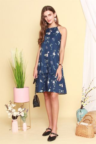 ACW Cut In Pastel Floral Dropwaist Midi Dress in Navy