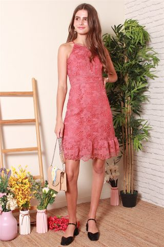 Floral Crochet Neckline Dress in Terracotta