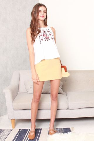 Pastel Belted Skirt in Daffodil