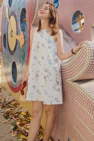 ACW Pastel Floral Cut In Dress in White