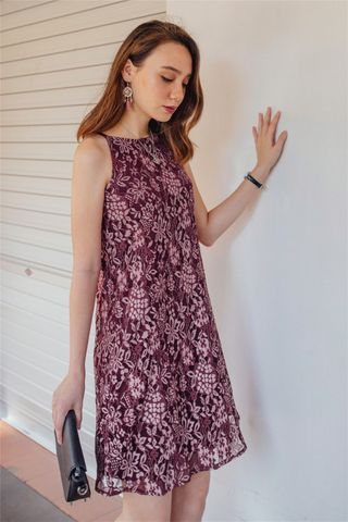 ACW Intricate Floral Lace Cut In Dress in Wine