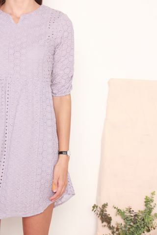 ACW Eyelet Sleeved Babydoll Dress in Dusty Grey