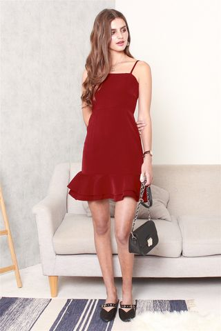 Double Flounce Cami Dress in Wine