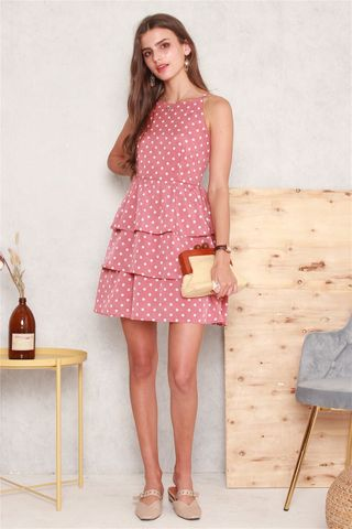 Tiered Polka Dot Dress in Rose