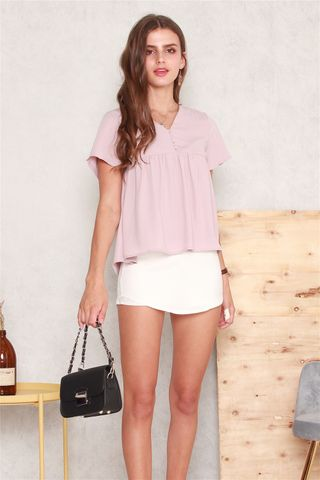 *BACK IN STOCK* ACW Button Down Babydoll Top in Dusty Pink