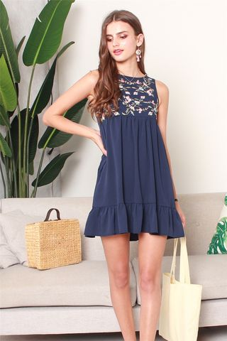 *BACK IN STOCK* ACW Blossom Embroidery Dropwaist Babydoll Dress in Navy