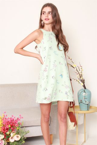 ACW Pastel Floral Cut In Dress in Mint