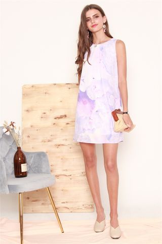 Dreamy Floral Trapeze Dress in Purple