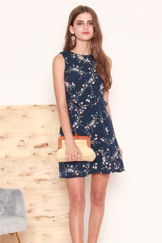 Waist Frill Floral Dress in Navy