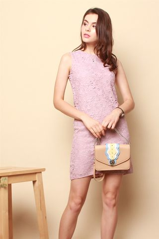 ACW Crotchet Floral Sheath Dress in Dusty Pink