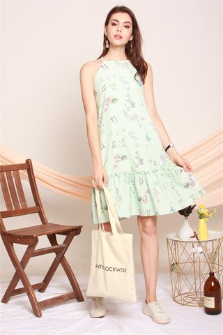 ACW Cut In Pastel Floral Dropwaist Midi Dress in Mint