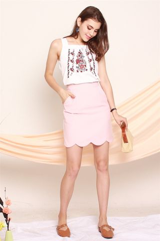ACW Pink Embroidery Rose Cut In Top in White