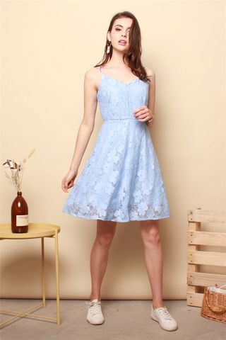 Lace Cami Swing Dress in Powder Blue