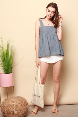 ACW Eyelet Flounce Top in Ash Blue