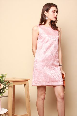 ACW Brocade Shift Dress in Tangerine