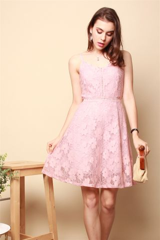 Lace Cami Swing Dress in Dusty Pink