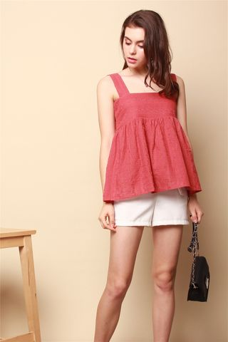 ACW Eyelet Flounce Top in Terracotta