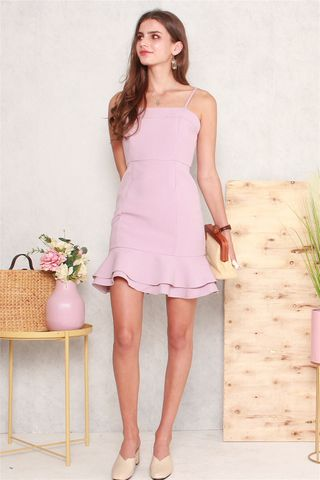 Double Flounce Cami Dress in Dusty Pink