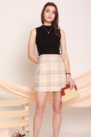 Pastel Checkered Skirt in Blue