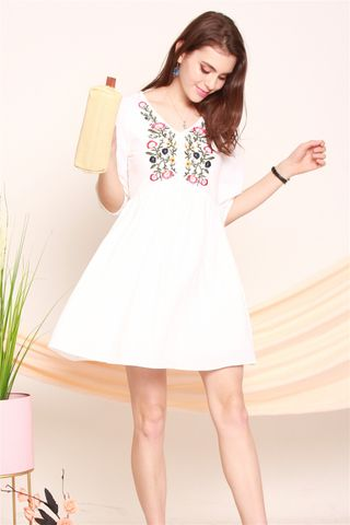 ACW Peony Embroidery Sleeved Babydoll Dress in White