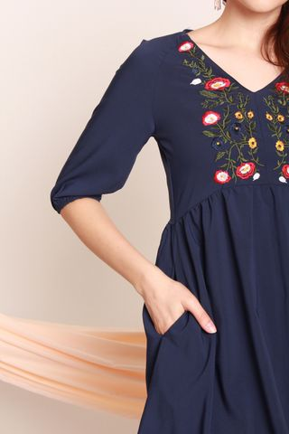ACW Peony Embroidery Sleeved Babydoll Dress in Navy