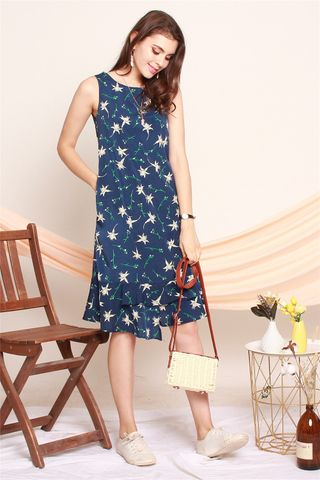 ACW Floral Tiered Hem Midi Dress in Navy