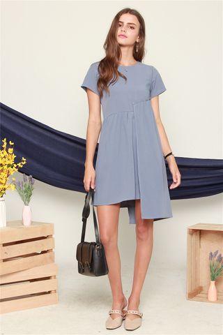 Side Frill Babydoll Sleeve Dress in Ash Blue