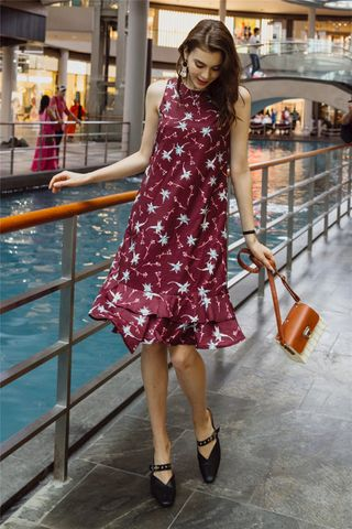 ACW Floral Tiered Hem Midi Dress in Wine