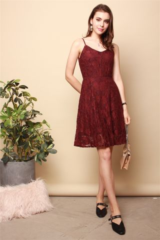Lace Cami Swing Dress in Wine