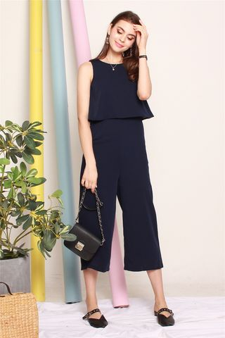 *BACK IN STOCK* Layered Jumpsuit in Navy