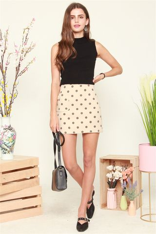 Polka Dot Skirt in Cream
