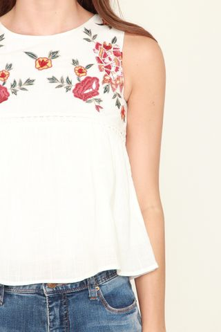 *BACK IN STOCK* ACW Garden Floral Swing Top in White