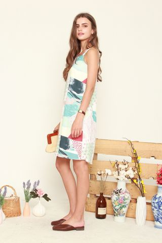 Abstract Print Two Way Dress in Blue