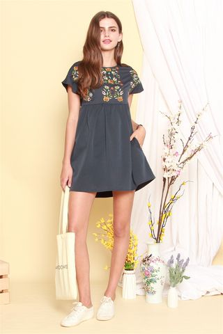 *BACK IN STOCK* ACW Daisy Embroidery Floral Romper Dress in Navy