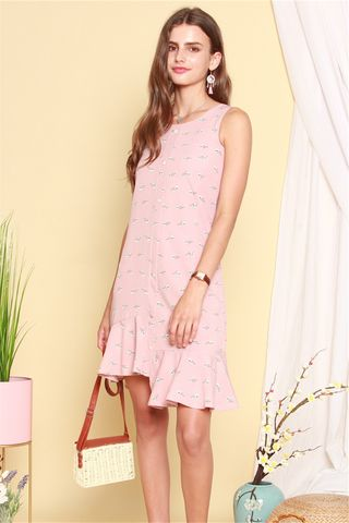 Floral Asymmetrical Hem Midi Dress in Dusty Pink