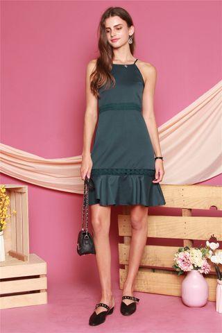 Crotchet Detail Cut In Dress in Emerald