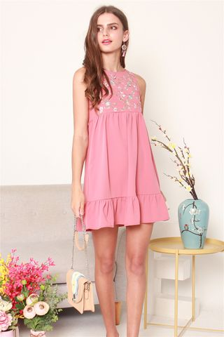 ACW Blossom Embroidery Dropwaist Babydoll Dress in Mauve