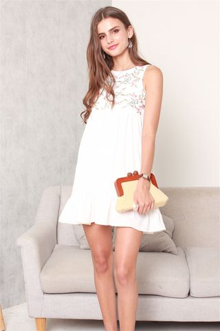 ACW Blossom Embroidery Dropwaist Babydoll Dress in White