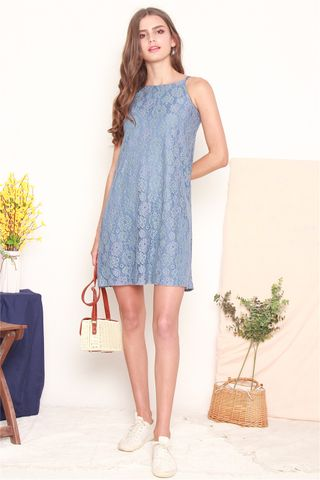 ACW Intricate Floral Lace Cut In Dress in Ash Blue